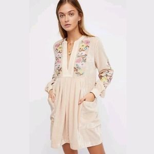 Free People Velvet Mia Embroidered Mini Dress XS